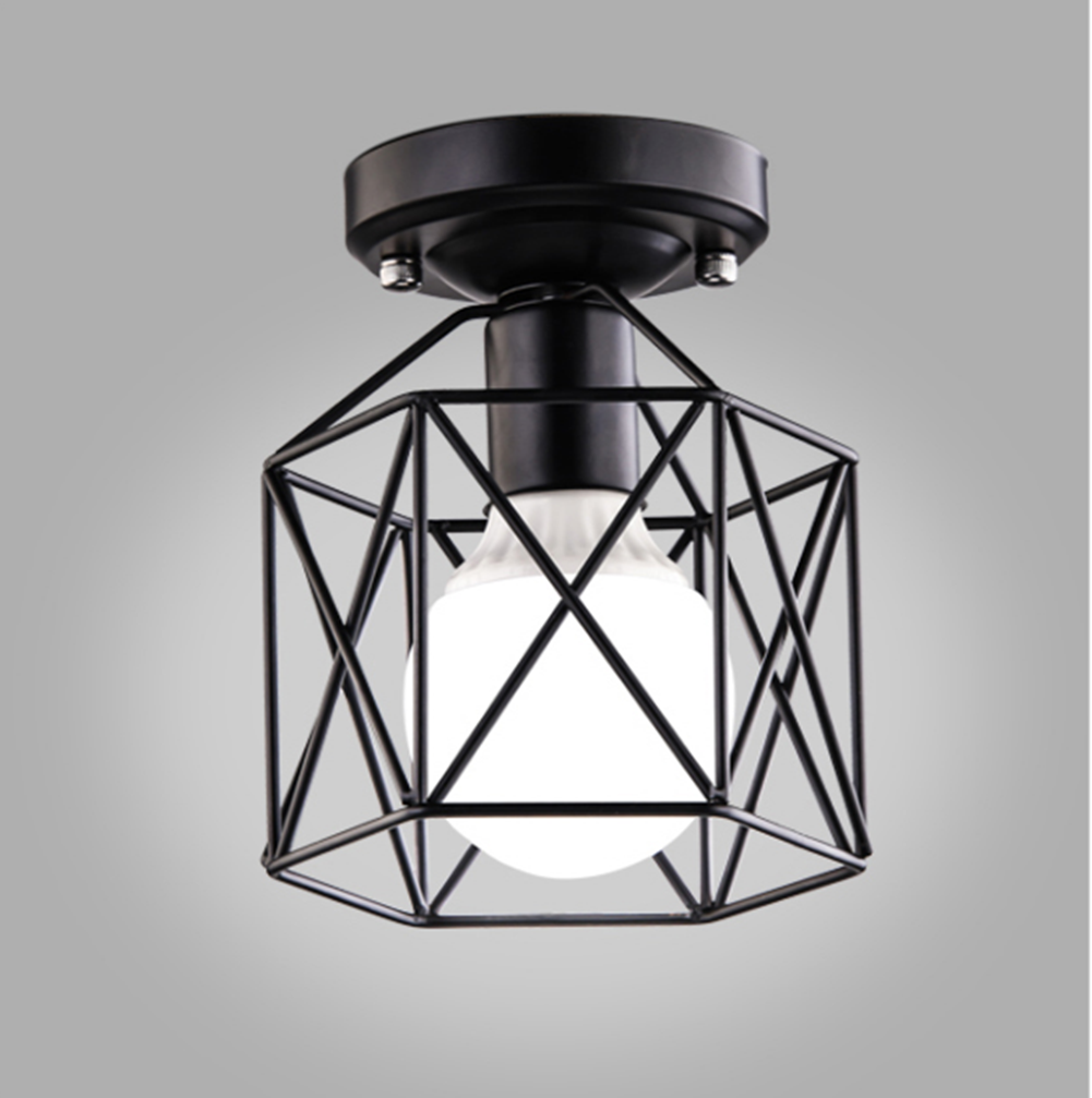 BAYCHEER Industrial Vintage Style Square Semi Flush Mount Ceiling Light with Cage use 1 E26 Bulb in Black - HL428266