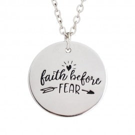 Faith before fear stamped pendant necklace grabatie uk christian faith before fear stamped pendant necklace aloadofball Choice Image