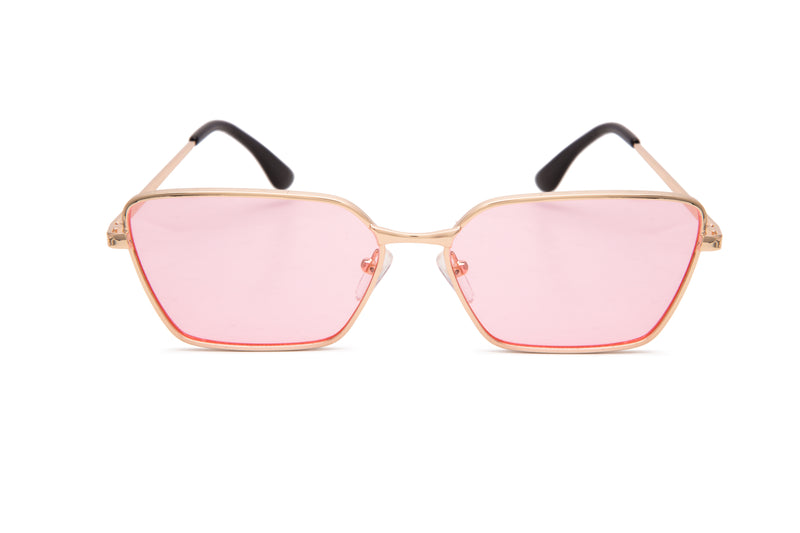 GOLD RECTANGLE WITH PINK LENS - JP18393