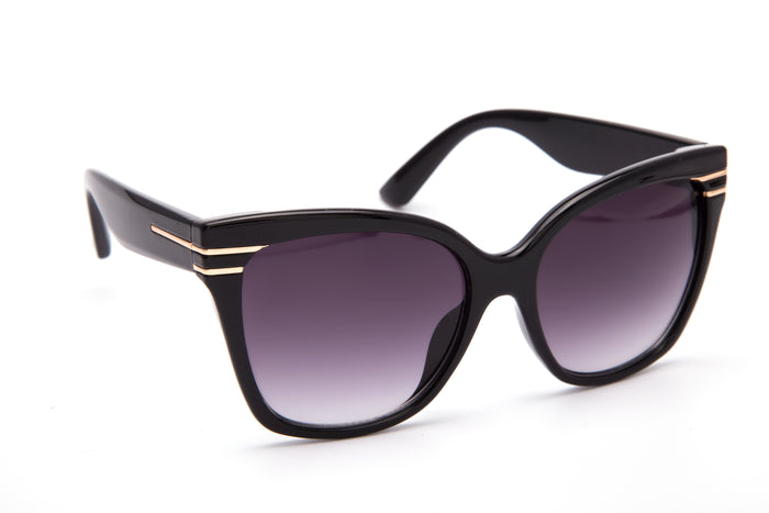 BLACK PLASTIC FRAME WITH GOLD DETAIL - JP18426