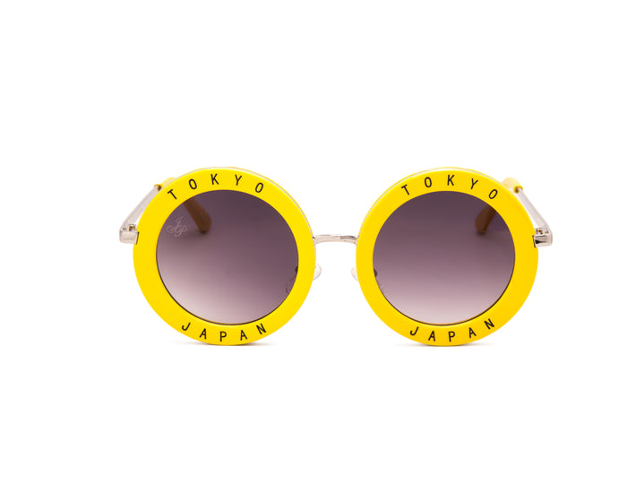 ROUND FRAME IN YELLOW WITH TOKYO AND JAPAN - JP18475