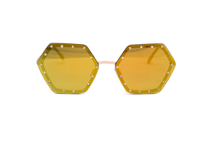 HEXAGON STYLE WITH DIAMONTE DETAIL ON LENS - JP18532