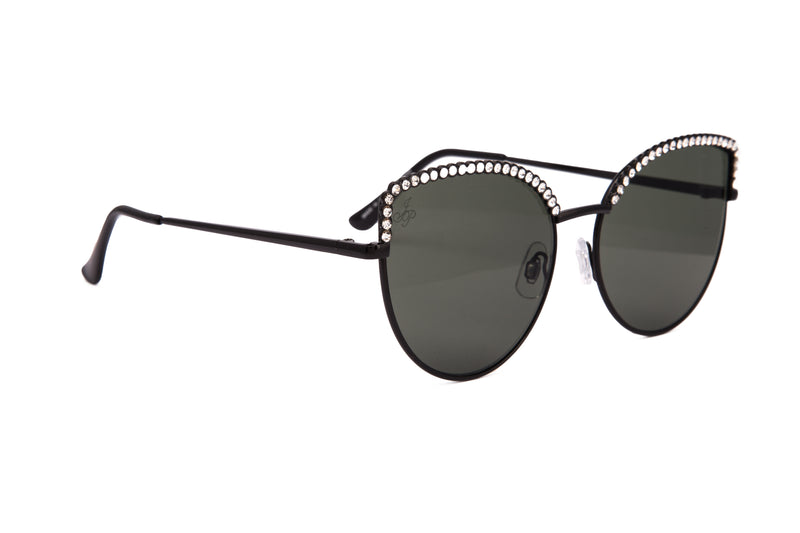 CAT EYE STYLE IN BLACK WITH DIAMONTE DETAILING - JP18555