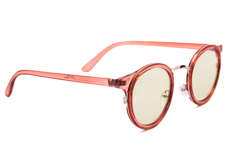PINK ROUND FRAME WITH BLUE LIGHT LENSES - JP18556
