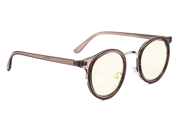 ROUND GREY FRAME WITH BLUE LIGHT LENSES - JP18557