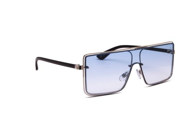 METAL SILVER SHIELD WITH BLUE LENS - JP18431
