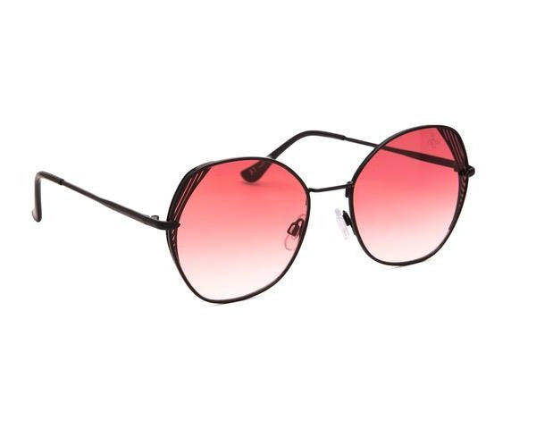 HEX SHAPE BLACK FRAME WITH PINK LENS - JP18484