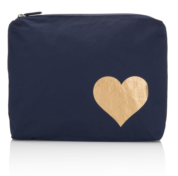 medium zipper pack - navy metallic heart