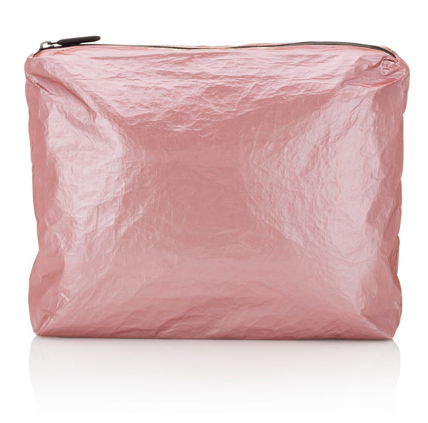 medium zipper pack - metallic rose