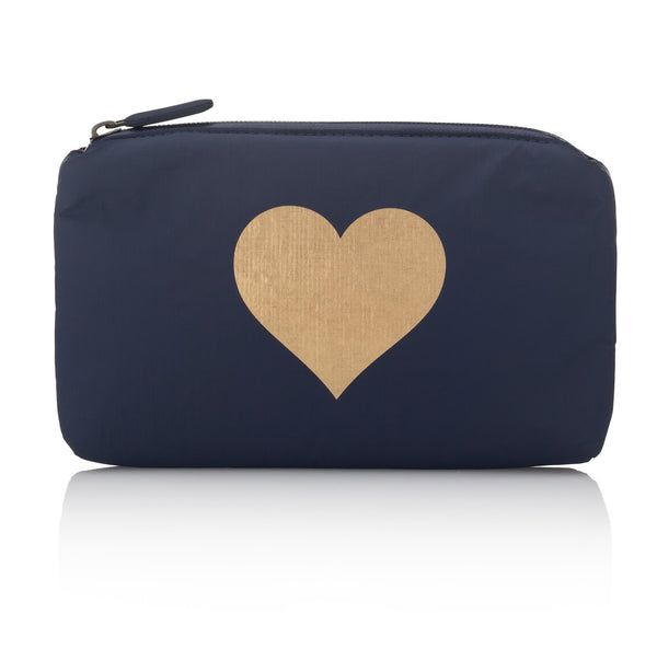 mini zipper padded pack - navy metallic heart