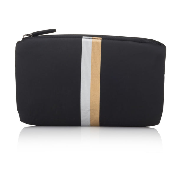 mini zipper padded pack - black with stripes