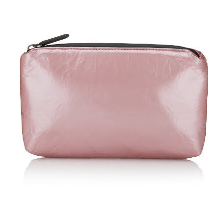 mini zipper padded pack - metallic rose