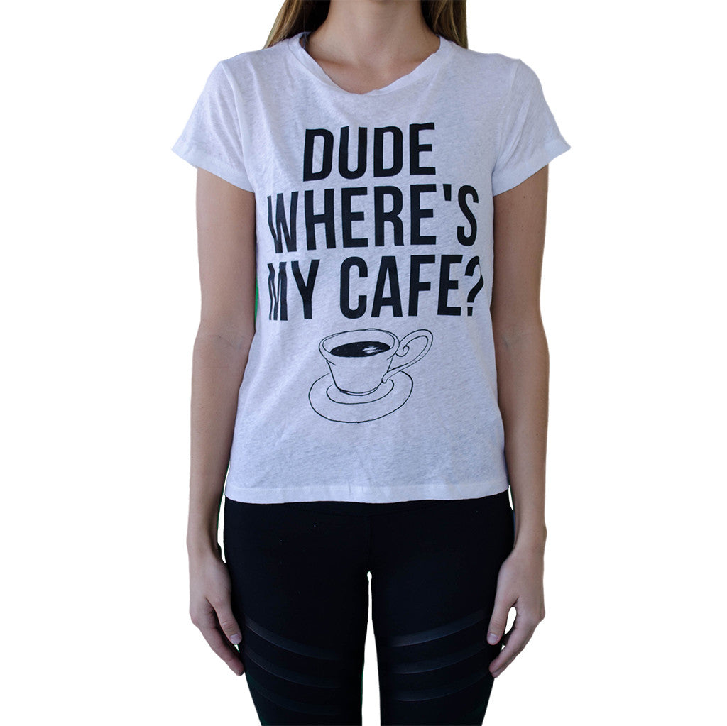 CHRLDR-dude where's my cafe t-shirt-mercer & winnie