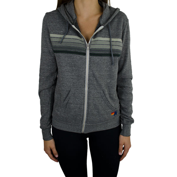aviator nation-5 stripe hoodie - heather grey-mercer & winnie