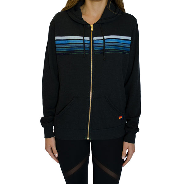 aviator nation-5 stripe hoodie - charcoal blue-mercer & winnie