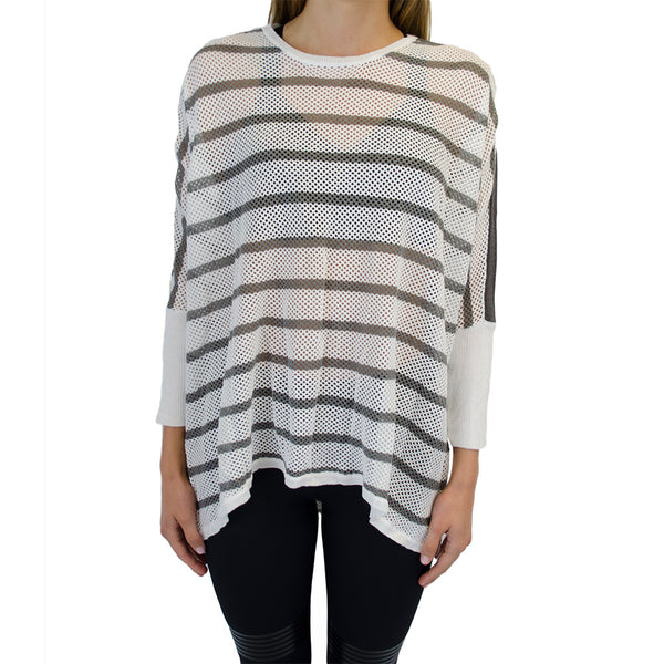 blanc noir-stripe drape sweater-mercer & winnie