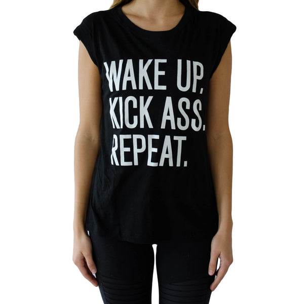 CHRLDR-wake up, kick ass, repeat t-shirt-mercer & winnie