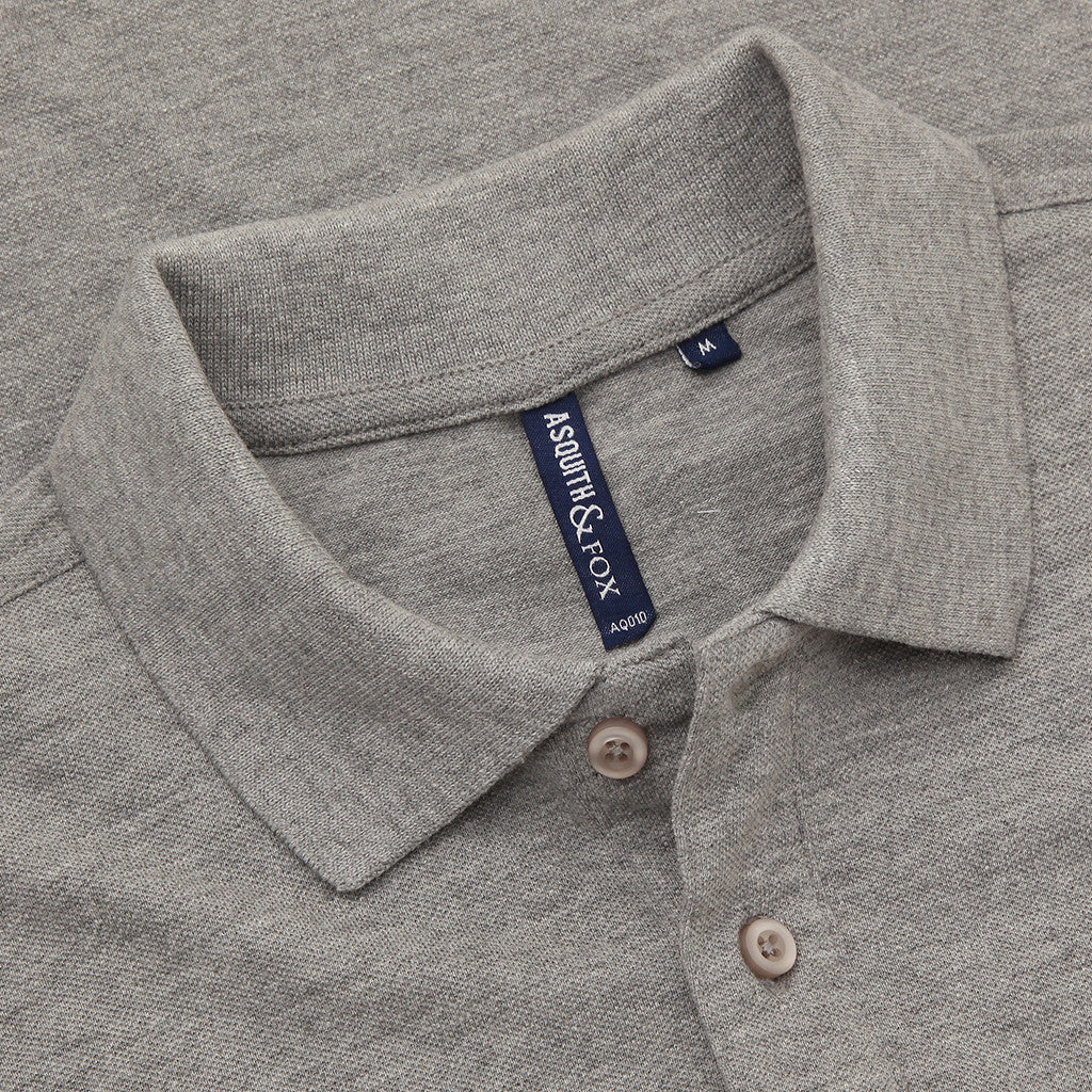 Asquith & Fox Men's Classic Piqué Polo Shirt In Heather Grey