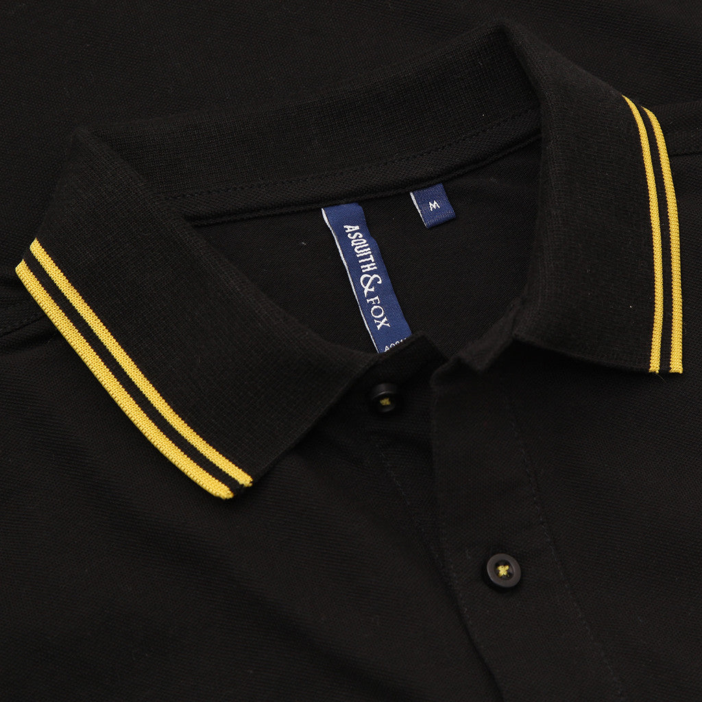 Asquith & Fox Men's Twin Tipped Piqué Polo Shirt In Black and Yellow