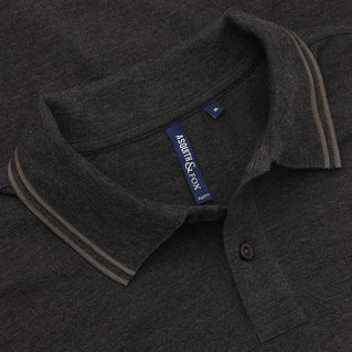 Asquith & Fox Men's Twin Tipped Piqué Polo Shirt In Black Heather and Charcoal