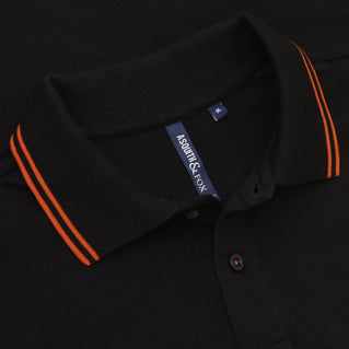 Asquith & Fox Men's Twin Tipped Piqué Polo Shirt In Black and Orange