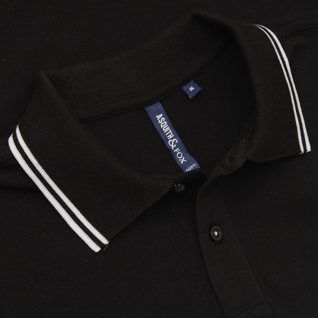 Asquith & Fox Men's Twin Tipped Piqué Polo Shirt In Black and White