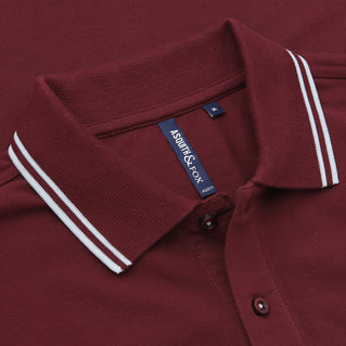 Asquith & Fox Men's Twin Tipped Piqué Polo Shirt In Burgundy and Sky