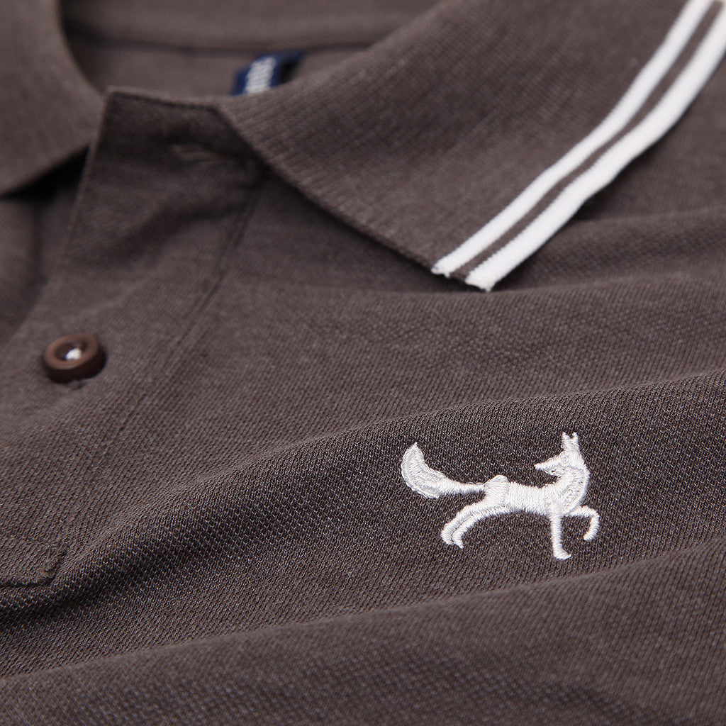 Asquith & Fox Men's Twin Tipped Piqué Polo Shirt In Charcoal and White