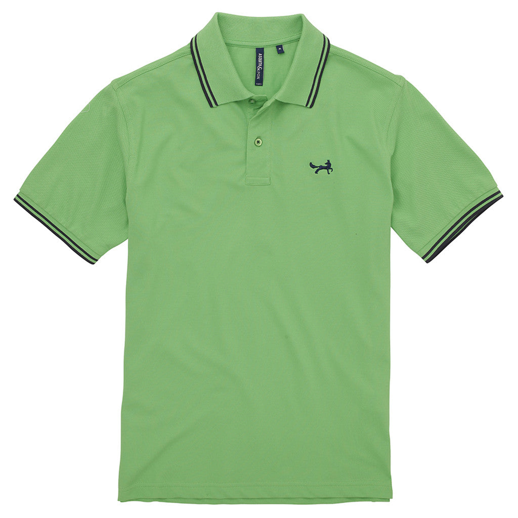 Asquith & Fox Men's Twin Tipped Piqué Polo Shirt In Lime and Navy