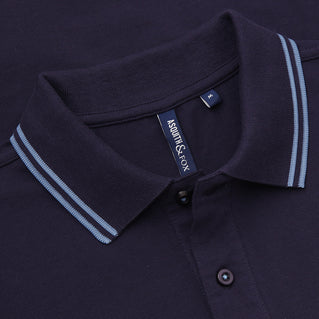 Asquith & Fox Men's Twin Tipped Piqué Polo Shirt In Navy and Cornflower