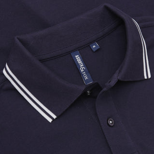 Asquith & Fox Men's Twin Tipped Piqué Polo Shirt In Navy and White
