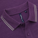 Asquith & Fox Men's Twin Tipped Piqué Polo Shirt In Purple and Grey Heather