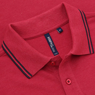 Asquith & Fox Men's Twin Tipped Piqué Polo Shirt In Red Heather and Navy