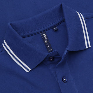 Asquith & Fox Men's Twin Tipped Piqué Polo Shirt In Royal and White