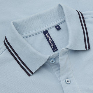 Asquith & Fox Men's Twin Tipped Piqué Polo Shirt In Sky and Navy
