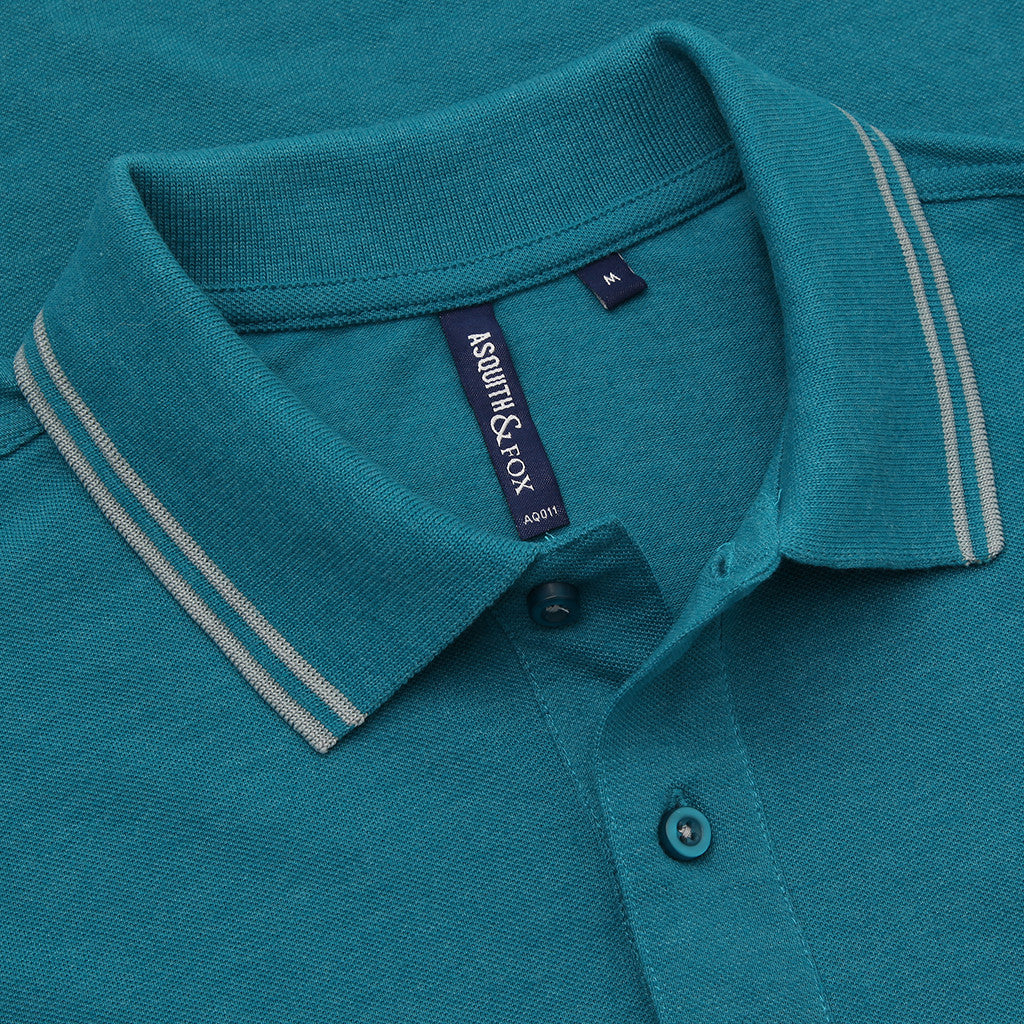 Asquith & Fox Men's Twin Tipped Piqué Polo Shirt In Teal and Grey Heather
