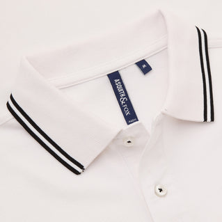Asquith & Fox Men's Twin Tipped Piqué Polo Shirt In White and Black