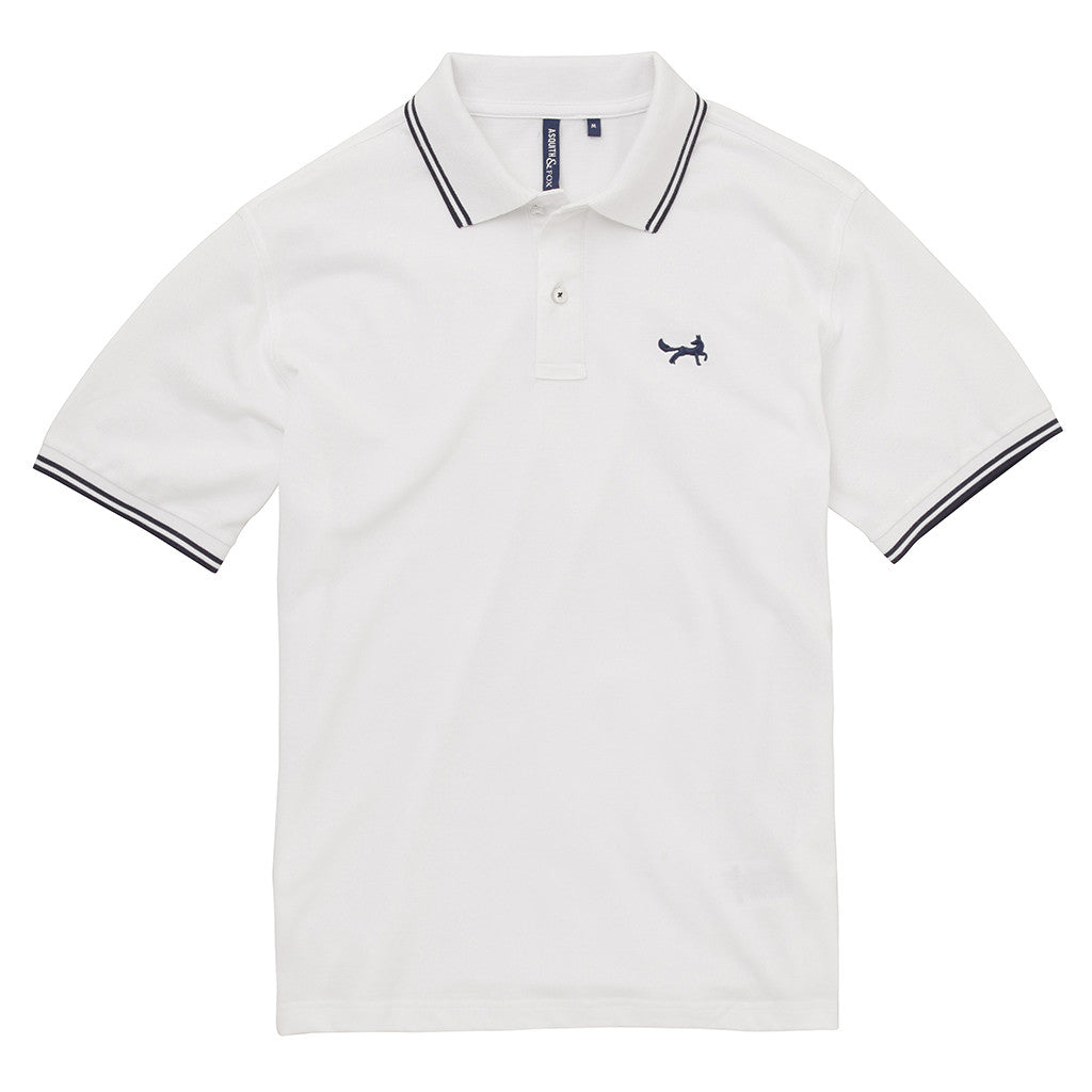 Asquith & Fox Men's Twin Tipped Piqué Polo Shirt In White and Navy