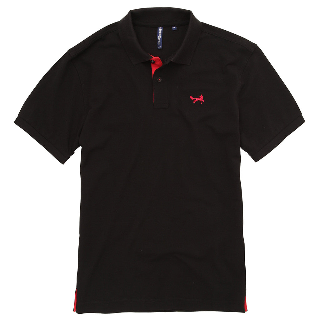 Asquith & Fox Men's Contrast Collar Piqué Polo Shirt In Black and Red