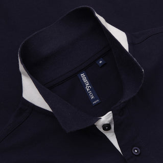 Asquith & Fox Men's Contrast Collar Piqué Polo Shirt In Navy and White