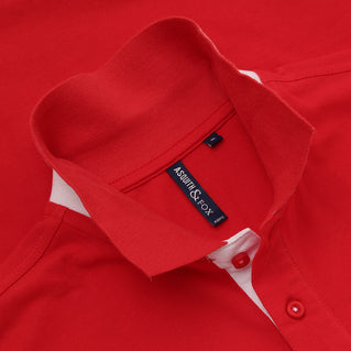 Asquith & Fox Men's Contrast Collar Piqué Polo Shirt In Red and White