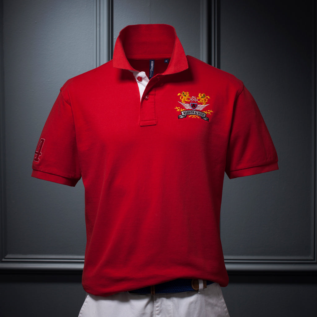 Men's Contrast Collar Polo In Red - The Preppy Collection