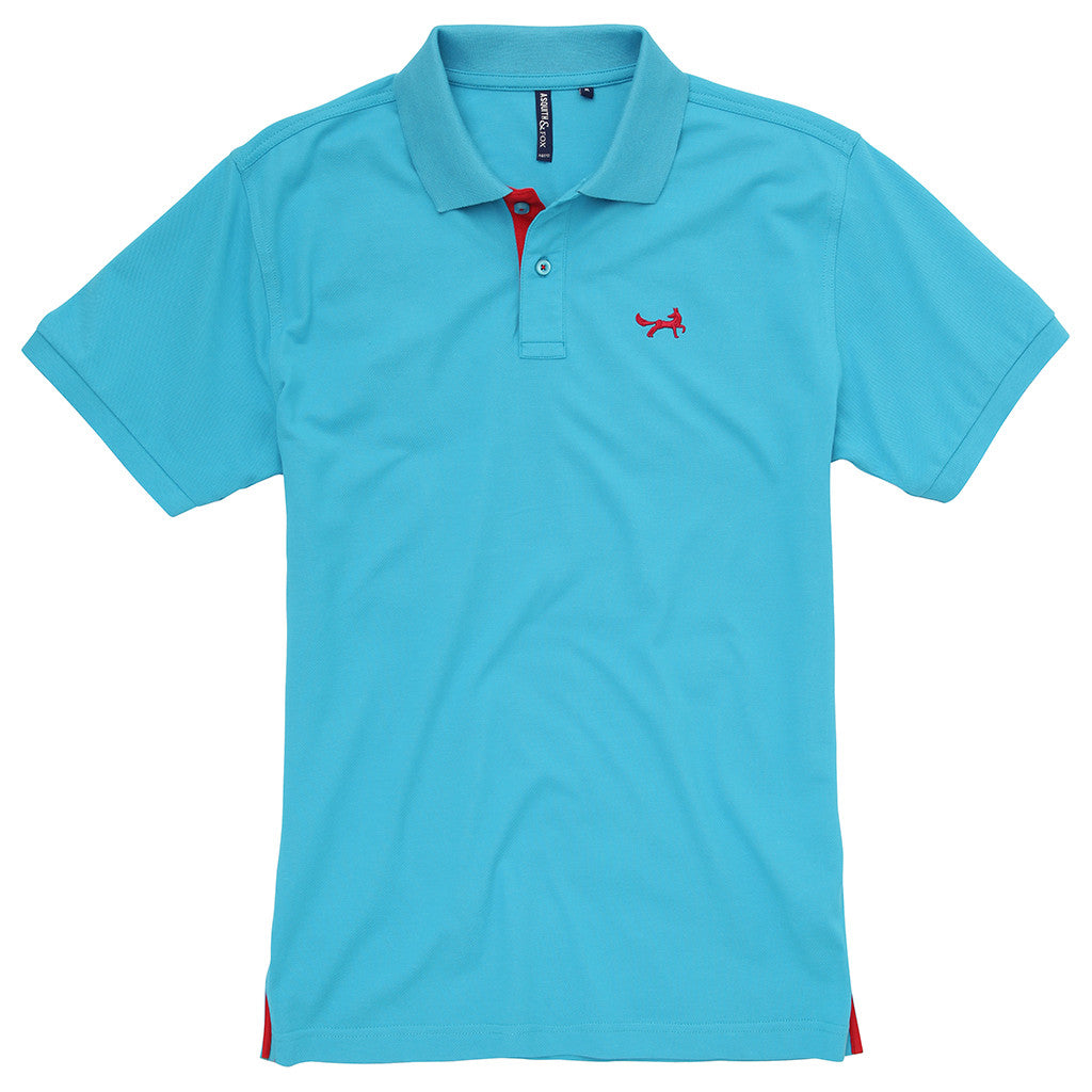Asquith & Fox Men's Contrast Collar Piqué Polo Shirt In Turquoise and Red