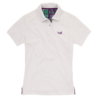 Asquith & Fox Women's Check Trim Piqué Polo Shirt In White