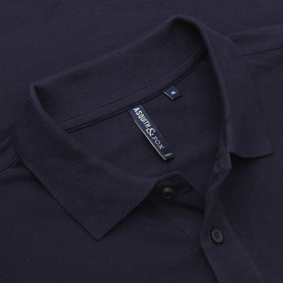 Asquith & Fox Men's Long Sleeved Piqué Polo Shirt In Navy