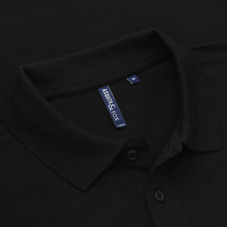 Asquith & Fox Men's Long Sleeved Piqué Polo Shirt In Black