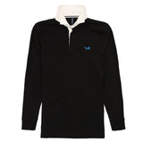 Asquith & Fox Men's Long Sleeved Vintage Rugby Shirt In Black