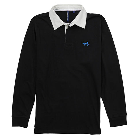Asquith & Fox Men's Long Sleeved Vintage Rugby Shirt In Sapphire