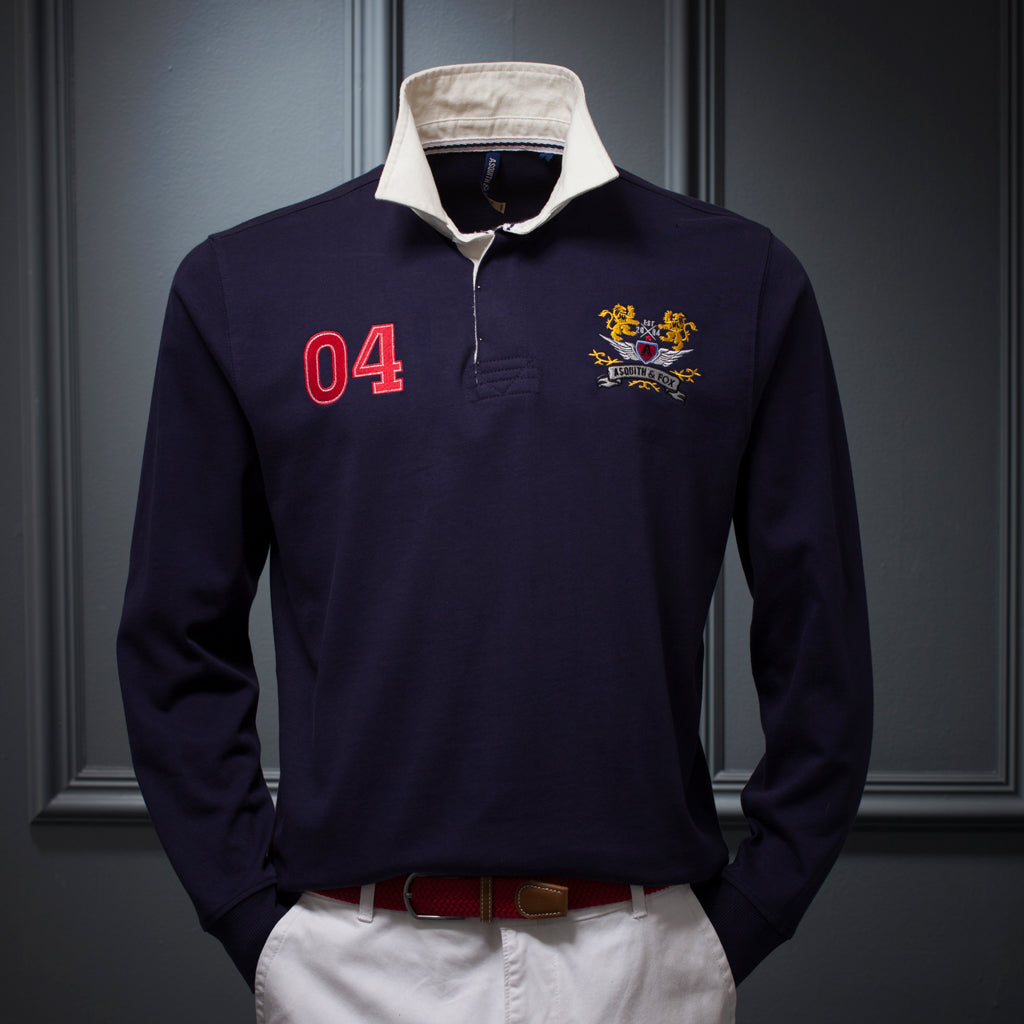 Men's Rugby Shirt In Navy - The Preppy Collection