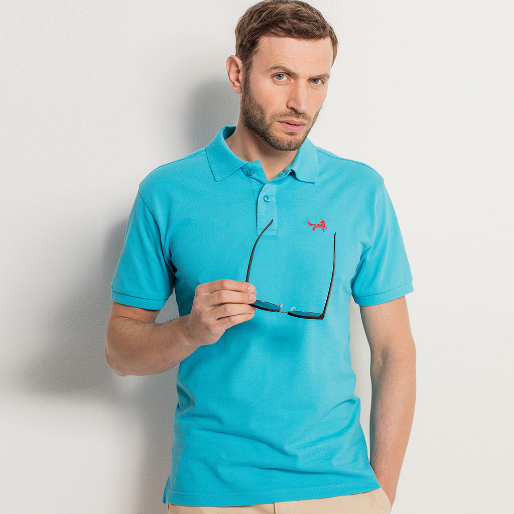 Men's Classic Piqué Polo Shirt In Turquoise
